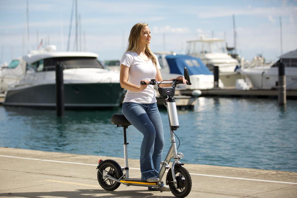 The seat can be removed to convert the Balto into a stand-up scooter.