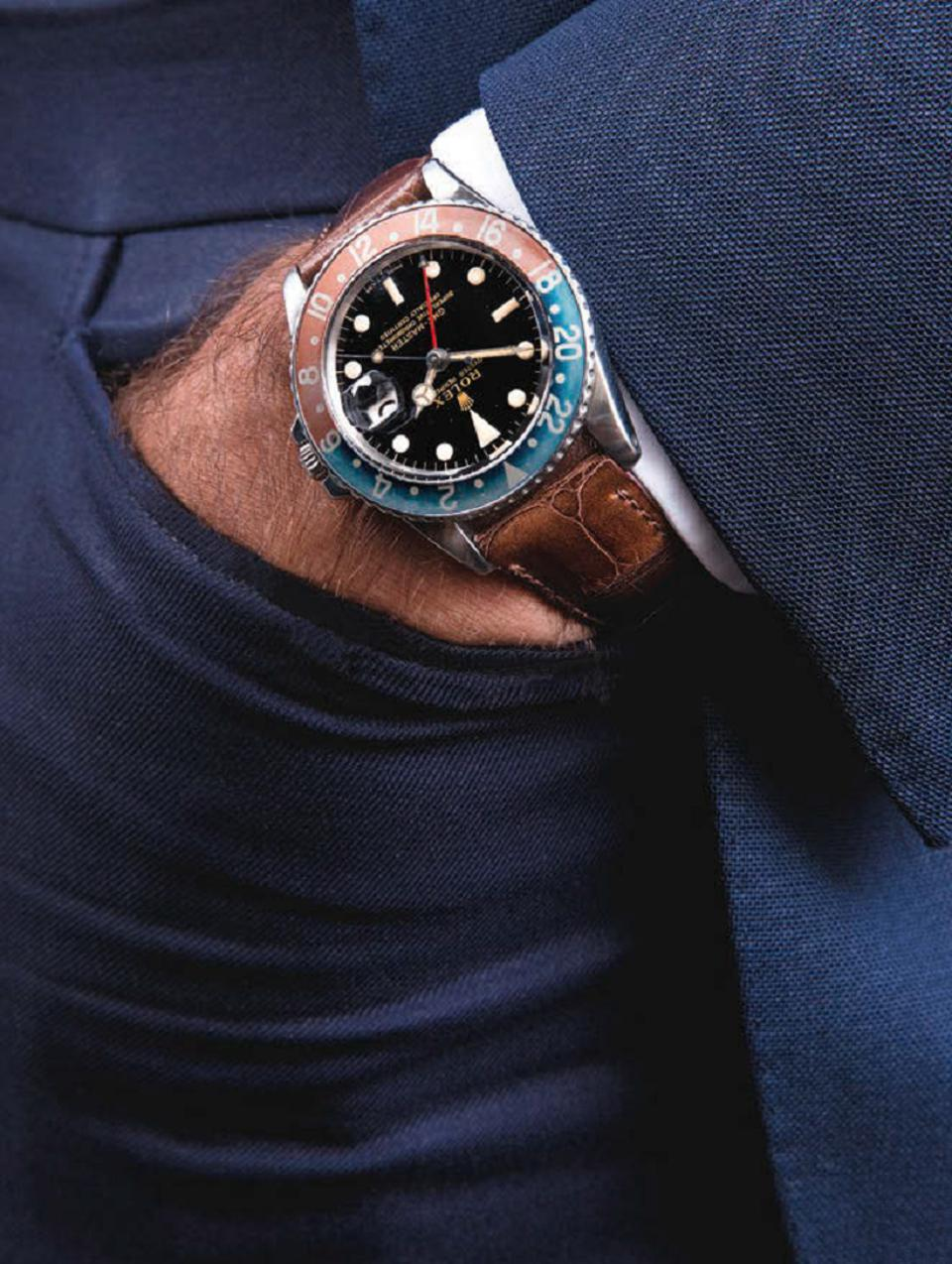 David Silver's hand-in-pocket image of his 1966 GMT Pepsi with alligator strap