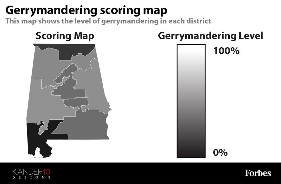 A map showing the gerrymandering score for Alabama