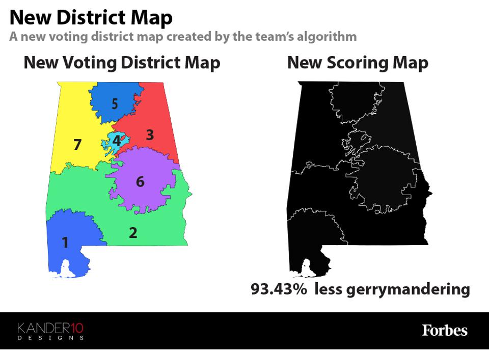 Two maps showing the new voting district map and the new scoring map