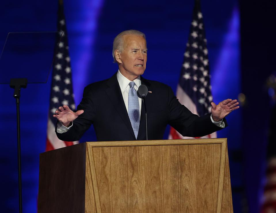 President-elect Joe Biden affirms the role of science in public policy on climate change and the Covid-19 pandemic, Wilmington, Delaware, November 7, 2020.