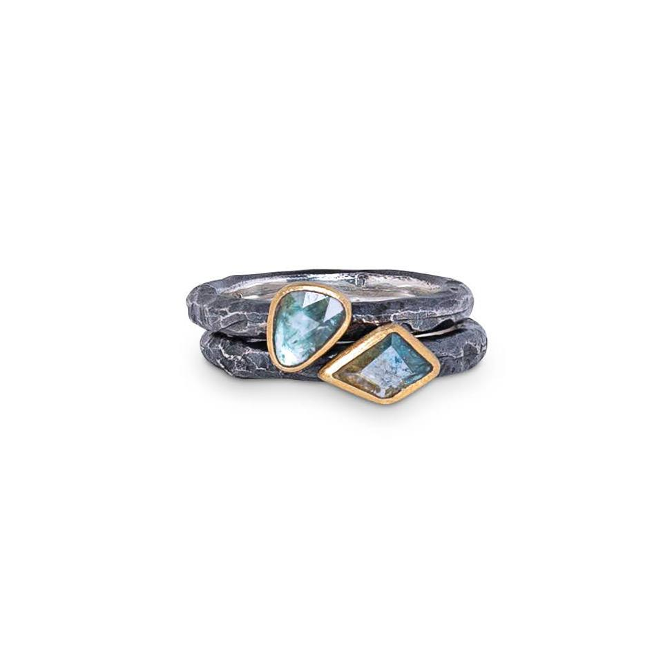 Sapphire rings set in 18-karat gold and sterling silver by stôn.
