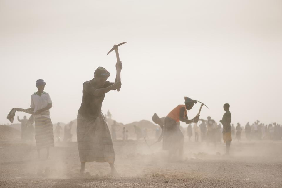 Digging the half-moons in Burkino Faso. Villagers dig half-moon circle in the ground to catch water in the rainy season, before planting young trees.