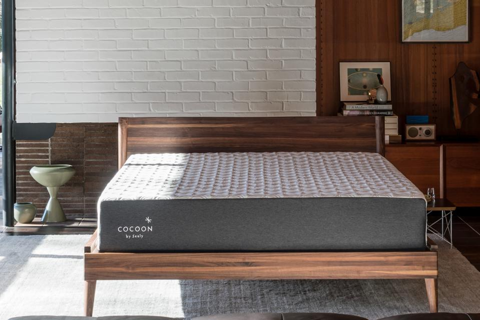 Cocoon by Sealy mattress set up in a bedroom on a wooden bed frame.