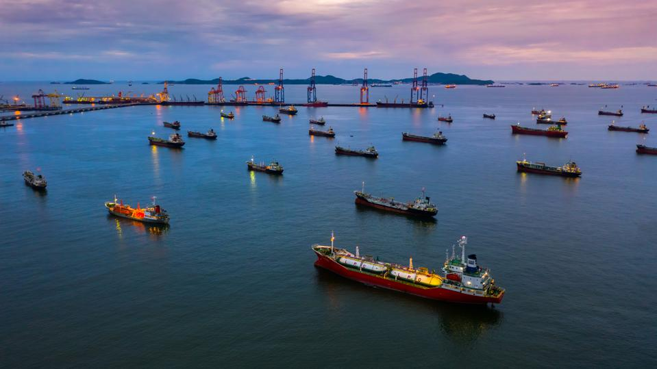 Oil tanker ship and LPG tanker ship, Aerial view tanker ship, oil and gas chemical tanker in open sea, Refinery Industry cargo ship.
