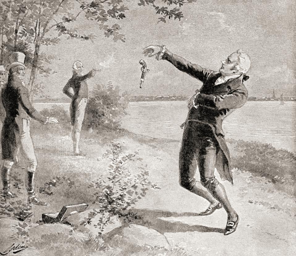 The Burr–Hamilton duel on July 11, 1804, between Alexander Hamilton, circa 1757 – 1804 and Aaron Burr, Jr