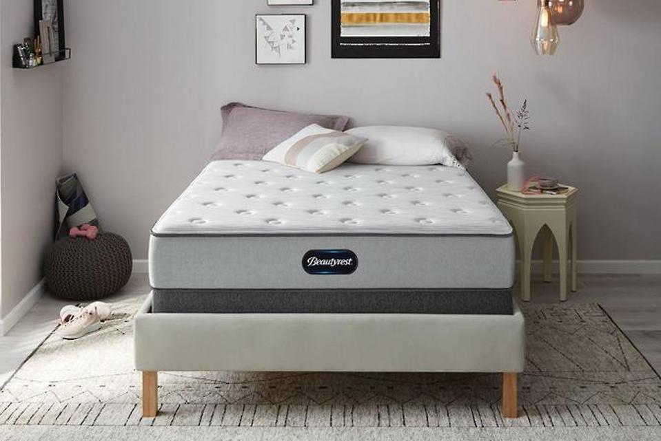 Beautyrest mattress set up in a bedroom.