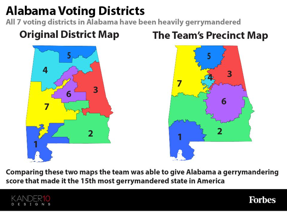 Two maps showing the original voting districts and the team's precinct map