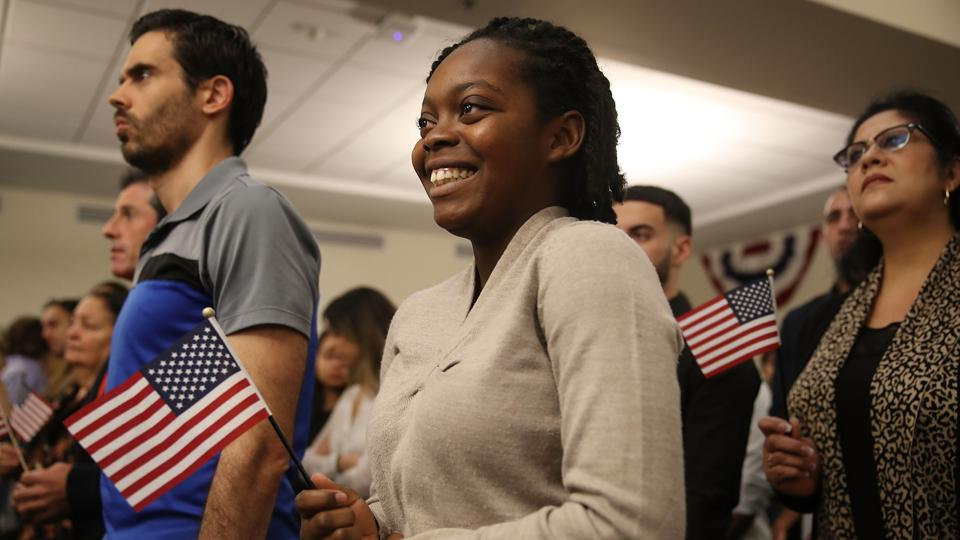 Immigrants To U.S. Become Citizens During Naturalization Ceremony