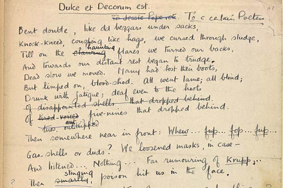 ″Dulce et Decorum est″ a poem written by Wilfred Owen during World War I, and published posthumously in 1920