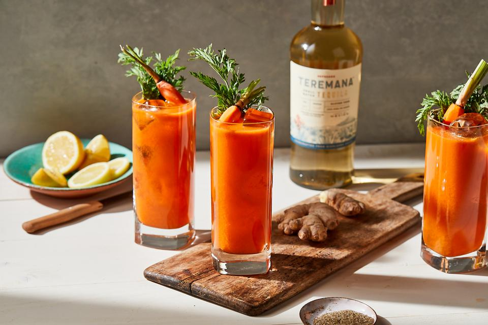 A savory-sweet cocktail with Teramana Tequila reposado, carrot juice and ginger.