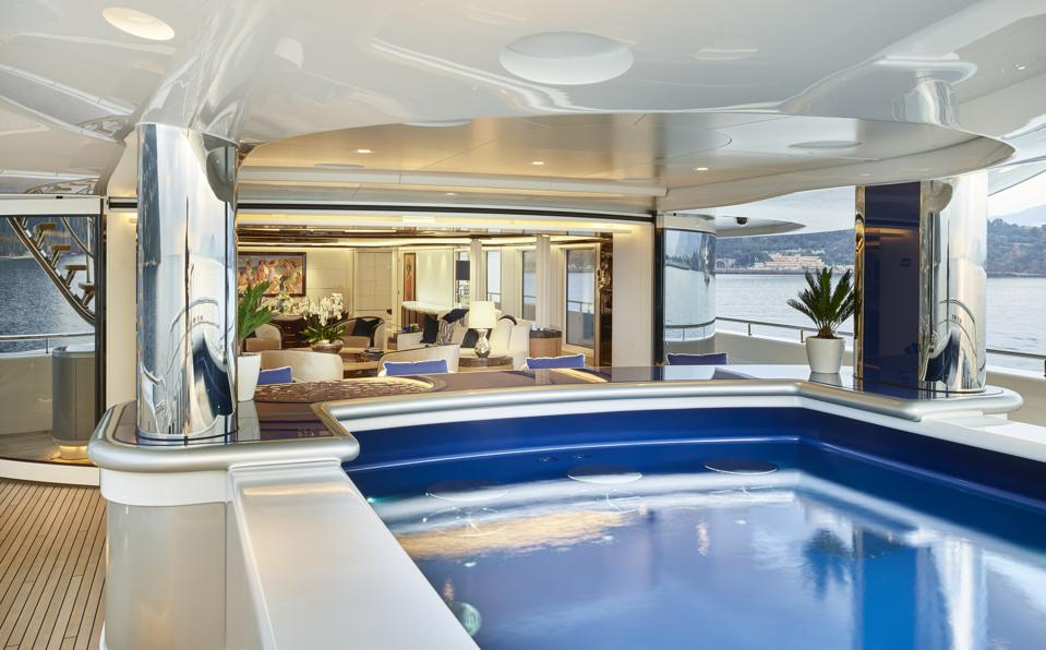 A beautiful swimming pool inside superyacht Excellence.