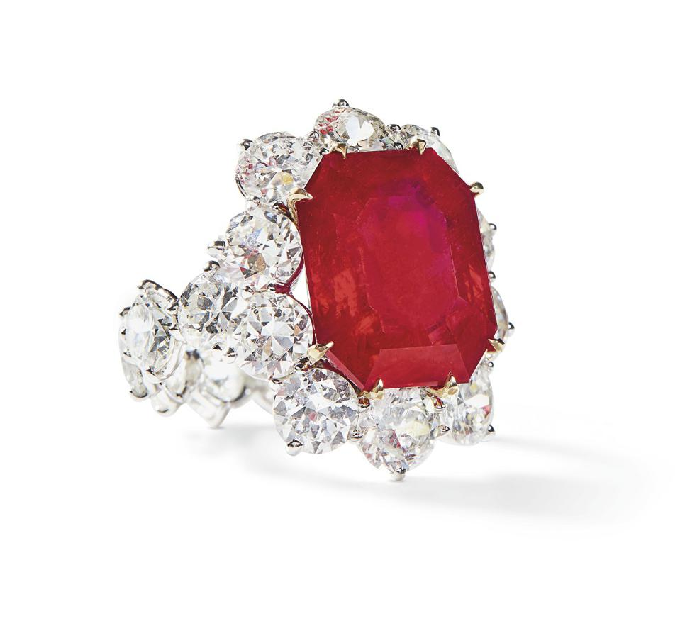 A platinum and gold ring by JAR centered with a 13.01-carat Burma ruby fetched $1 million