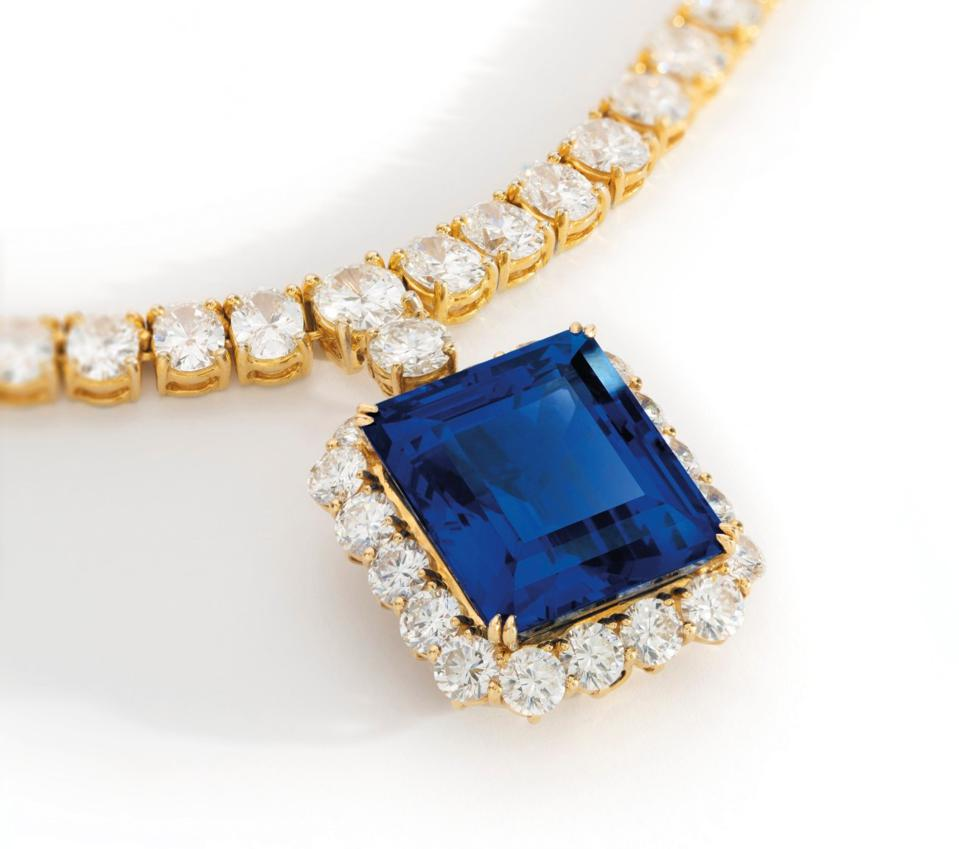 A Harry Winston 35.42-carat sapphire and diamond pendant sold for $641,967 at Christie's