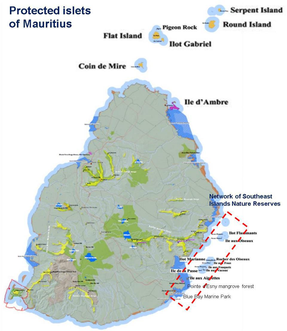 Southeast Mauritius has a highly protected network of interconnected coral islets containing many globally unique species