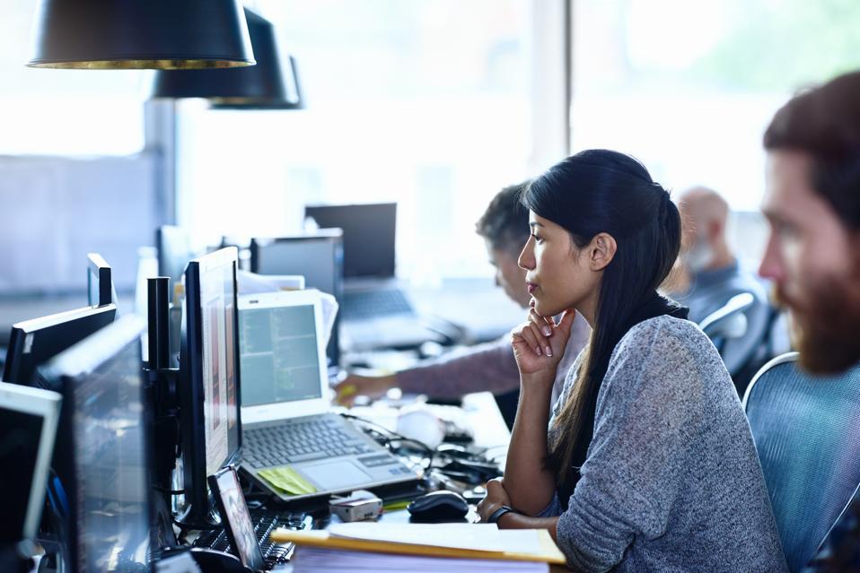 People working in modern office