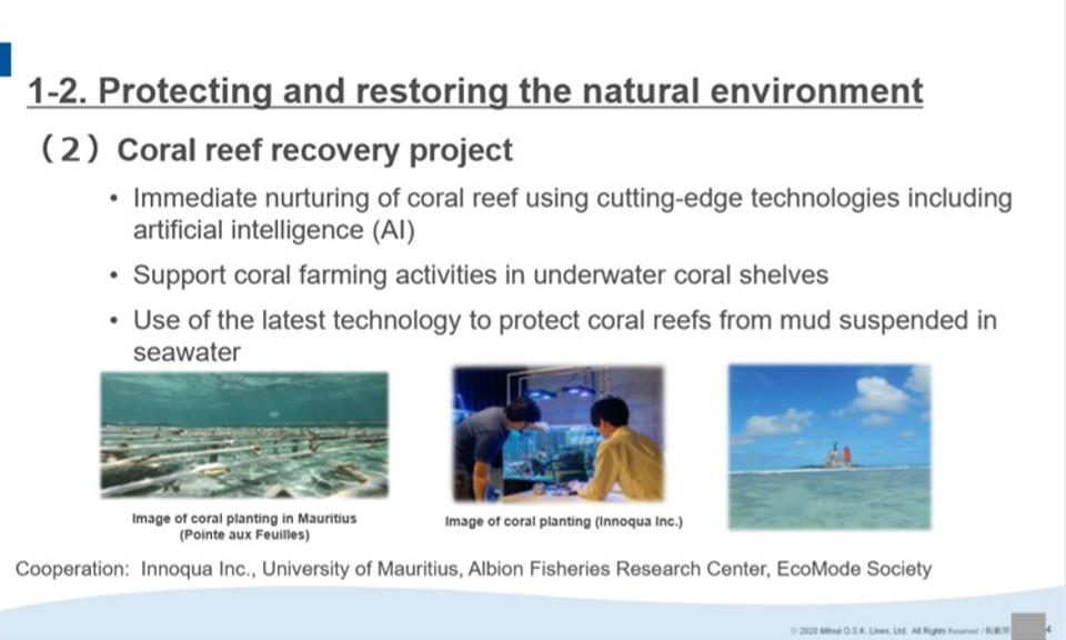 11 Sep 2020: Presentation by MOL CEO and President, Junichiro Ikeda highlights artificial intelligence for corals but misses out on fundamental baselining technologies, showing a lack of knowledge of where latest coral technologies are