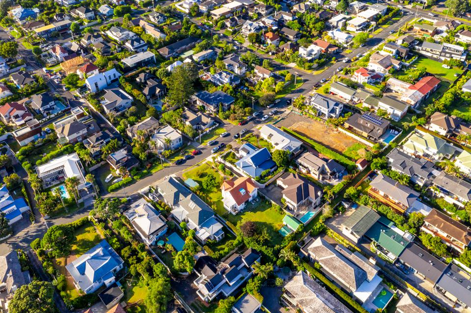 Auckland suburban houses from above