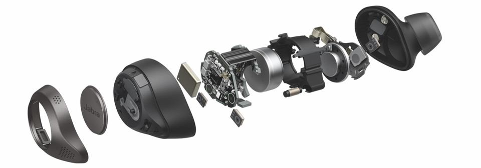 Exploded view of a Jabra ELite 85t earphone