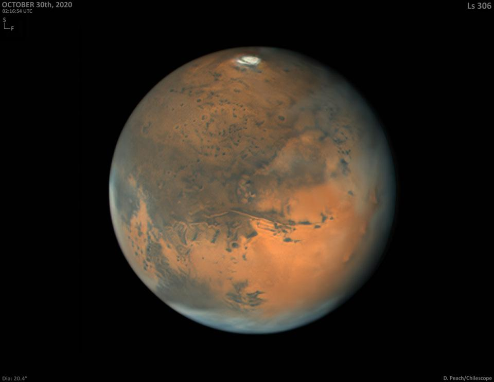 British astrophotographer Damian Peach of Selsey, Sussex, made this image of Mars on 30 October 2020 using a one-metre telescope in Chile by remote access. It is one of the most detailed views of Mars ever taken from Earth and approaches the level of detail seen in images made with the Hubble Space Telescope.