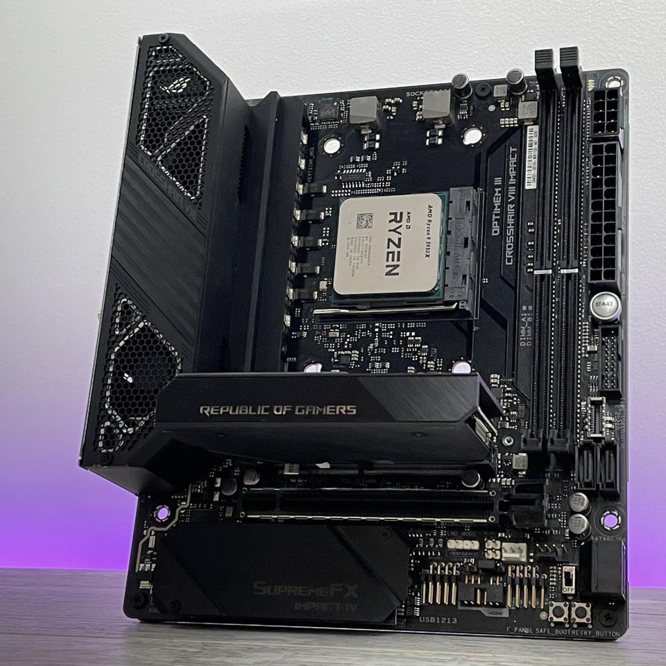 AMD's Ryzen 9 5950X might be the most powerful mainstream desktop CPU, but it can still be used in any 400 or 500-series motherboard including small form factor models such as the Asus Crosshair VIII Impact pictured