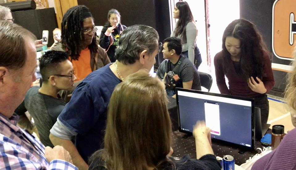 Gabriella demos AccesSOS at the California School for the Deaf in Fremont