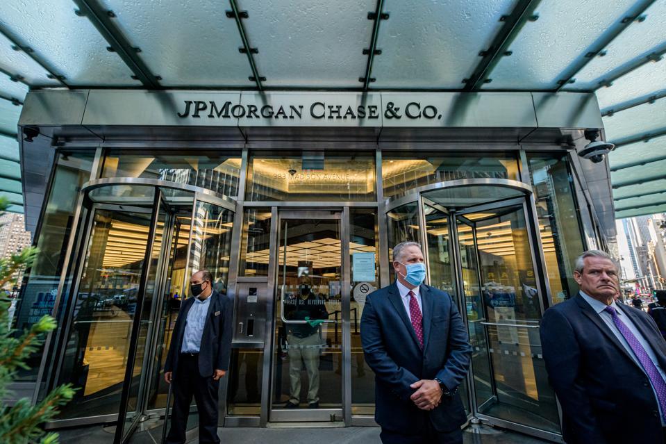 Main entrance at JPMorgan Chase headquarters in New York...