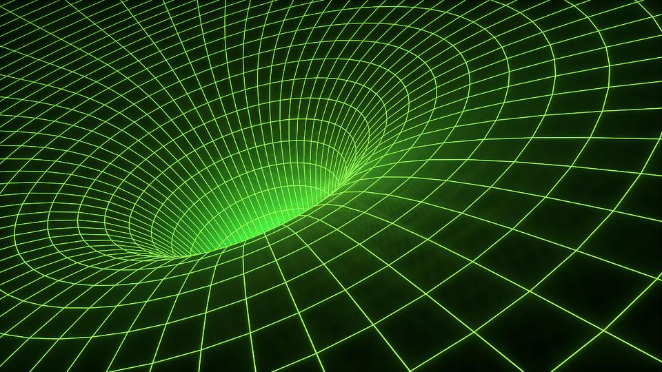 An illustration of heavily curved spacetime, outside the event horizon of a black hole.