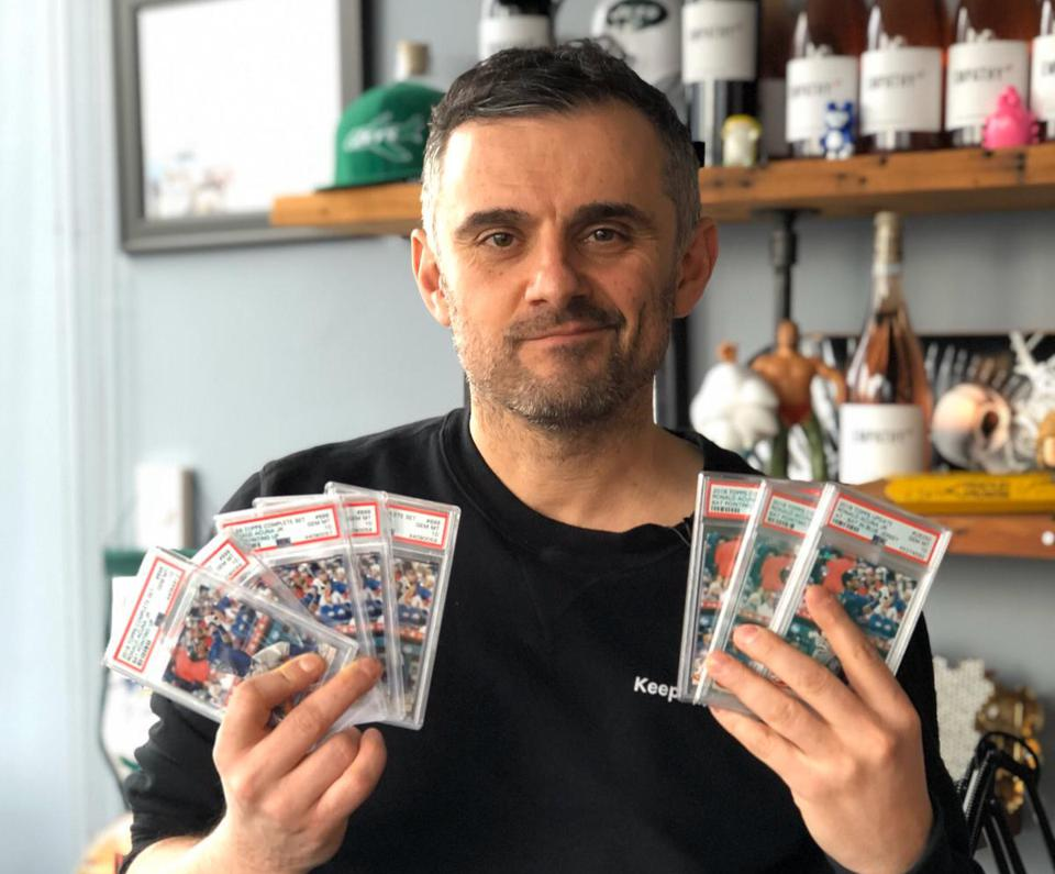 VaynerMedia CEO Gary Vaynerchuk holds some of his many prized sports card collectibles.