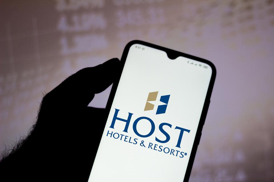 In this photo illustration the Host Hotels and Resorts logo...