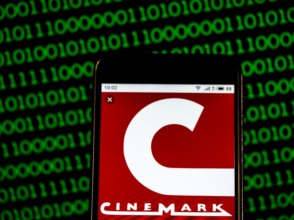 Cinemark Theatres Movie theater company logo seen displayed