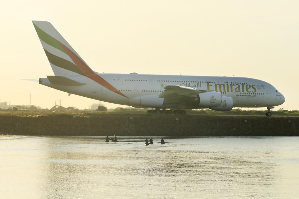 An Emirates Airbus A380 prepares for take-off at Sydney Airport on March 25, 2020