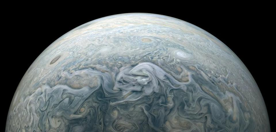 Jupiter, as photographed by NASA's Juno spacecraft's JunoCam during its recent perijove 30 flyover. Processed by citizen scientist Kevin M. Gill.