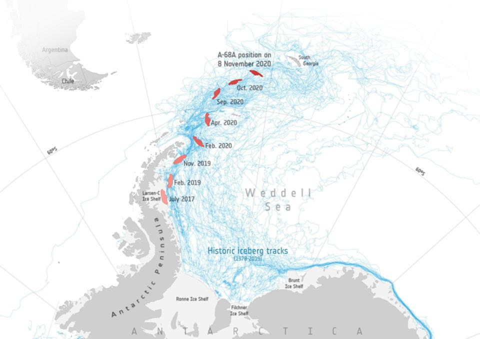 Historical iceberg tracks and the position of A68a tracked by satellite.