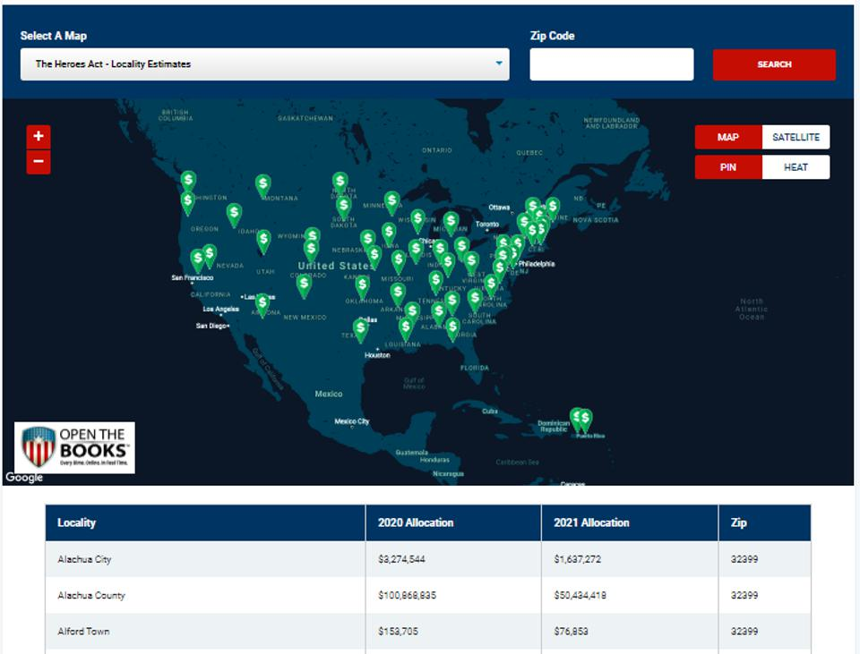 Mapping Heroes Act bailouts of 40,000 municipal governments across America.