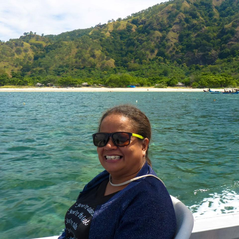 East Timorese fisheries researcher Agustinha Duarte on the WorldFish boat.