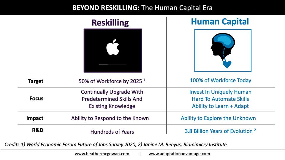 Moving beyond reskilling to the human capital Era where reskilling is a norm but deeper investments in humans are required