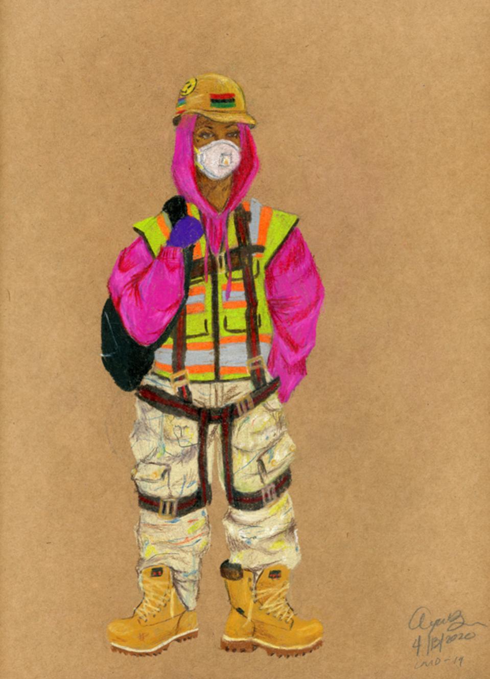 Brooklyn-based artist Aya Brown artwork of a first responder