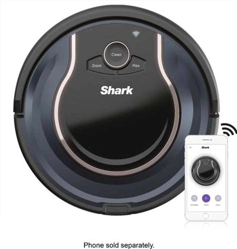 Shark ION Robot® Vacuum R76, Wi-Fi Connected, Works with Alexa, Multi-Surface Cleaning - Black/Navy Blue
