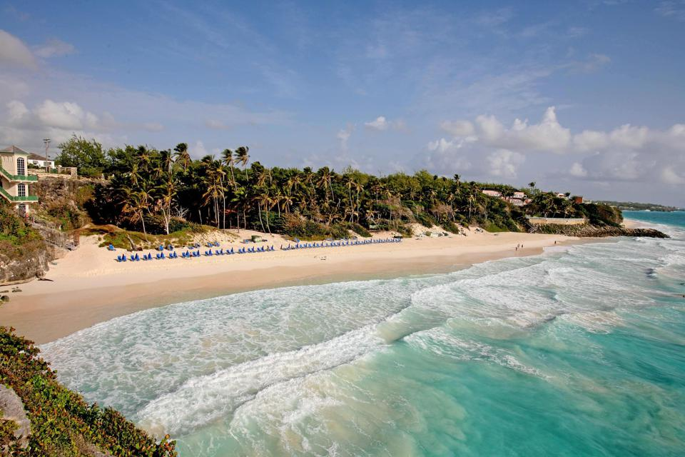 The beach at The Crane resort in Barbados