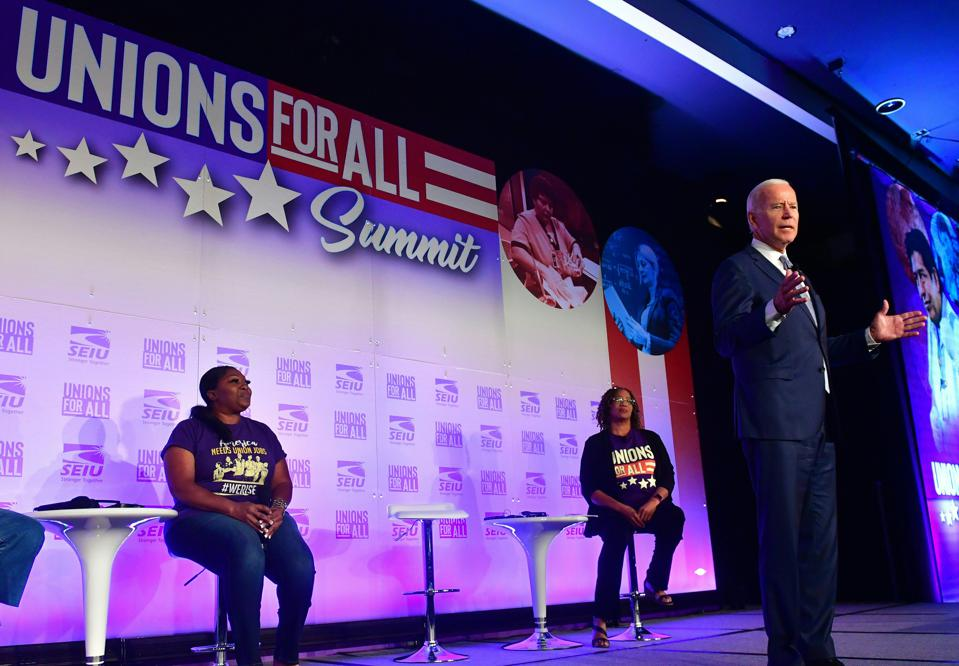 Joe Biden speaking at a Unions for All Summit