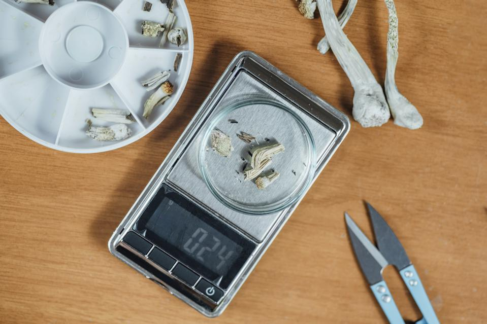 Measuring Daily Micro Dose of Magic Mushrooms on Digital Scale