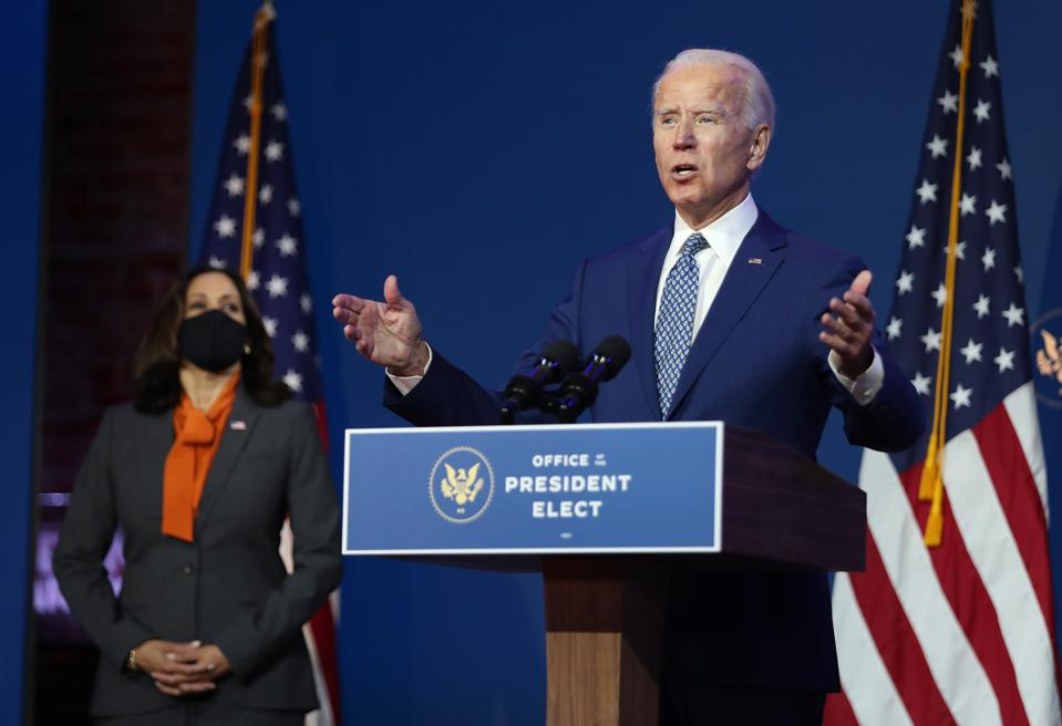 9 Nov 2020: U.S. President-elect Joe Biden speaks to the media while flanked by Vice President-elect Kamala Harris in Wilmington, Delaware.