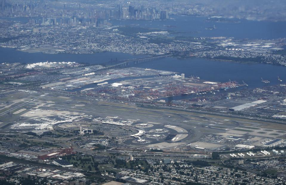 Newark Port, New Jersey seen with Newark Liberty International Airport and lower Manhattan.