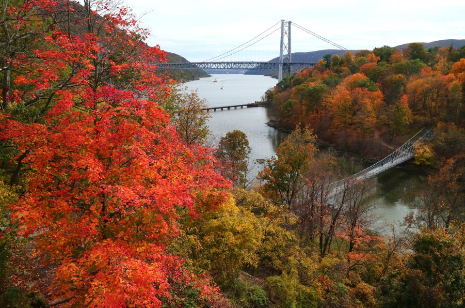 25 Oct 2020: Trees turn colors along the Hudson River in front of Bear Mountain Bridge, New York.