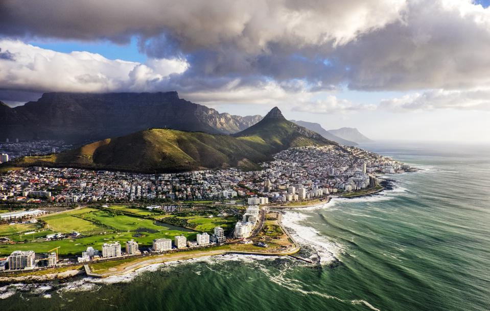 Cape Town and the mountains that frame it—Table Mountain and Lion's Head.