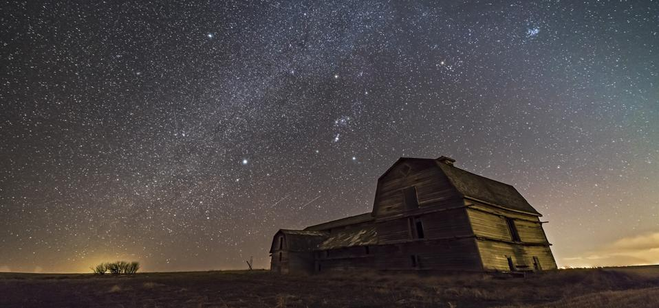 Orion and the Winter Milky Way over the grand old barn near home Sirius and Canis Major are at left, Aldebaran and Taurus, with the Pleiades at upper right.