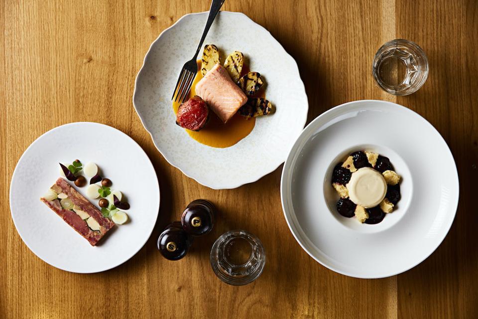 salmon, blackberries and pate