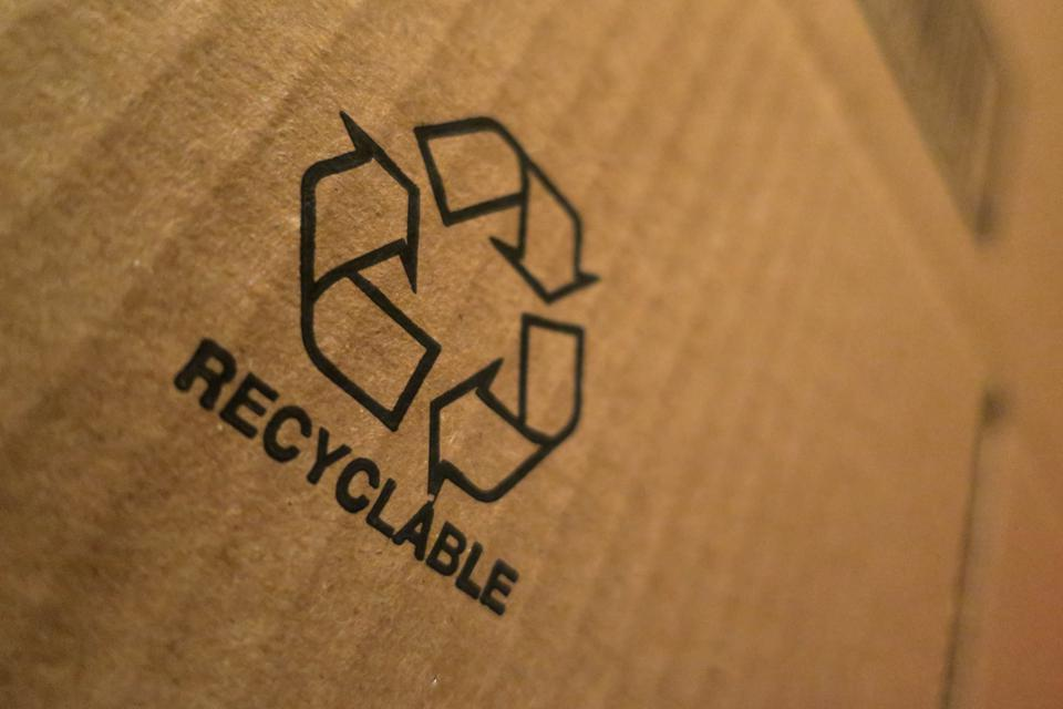 Recyclable Icon on Cardboard Box