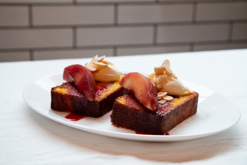 plum cake on a white plate